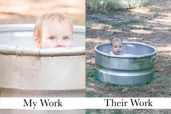 Child in rustic bathtub